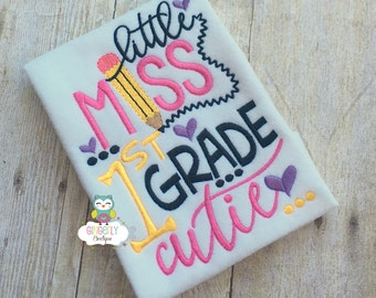 Little Miss 1st Grade Cutie Shirt,  Girl Back to School Shirt, First Day of School Shirt, First Grade Shirt, Little Miss School Shirt