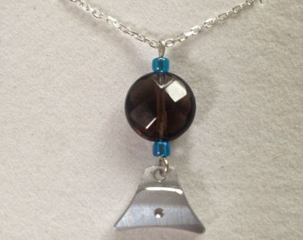 Sheepdog Whistle charm necklace with smokey Quartz