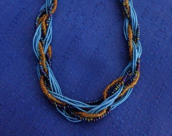 Blue and Gold Multistrand Seed Bead Necklace