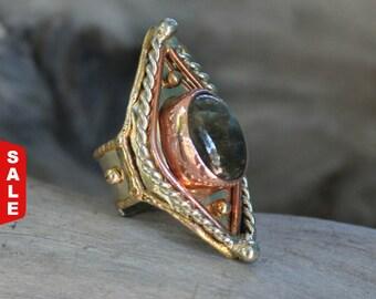 Labradorite Ring, Egyptian Ring, Birthstone ring ,gemstone ring, copper ring, Statement ring, mix metal ring, RIRI111