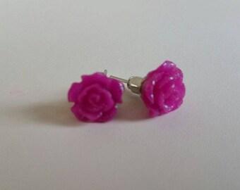 TODAY SALE Purple Flower Stud Earrings with Glitters, Mystic Rose Stud Earrings, Everyday Earrings, Wedding Gift