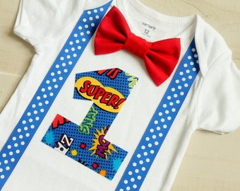 Superhero Birthday Outfit with Cape Option, Birthday Outfit, First Birthday Boy Outfit