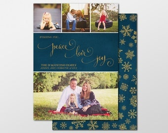 Custom Holiday Card, Holiday Photo Cards, (4) Four Photo Christmas Cards PRINTABLE / PRINTED - Xmas Greeting - Peace Love and Joy