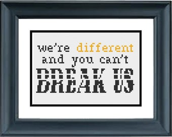 We're Different and You Can't Brake Us - Unbreakable Kimmy Schmidt - PDF Cross-Stitch Pattern - Netflix