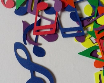 Rainbow Music Notes Table Confetti / Musical Theme Party Decor Decoration Table Scatter Scrapbook Embellishments  / 100 Pieces