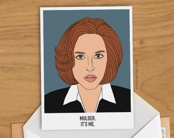 Dana Scully Greeting Card Woman Birthday Girl Gift The X Files Illustration I Want to Believe Aliens UFO Flying Saucer Fox Mulder TV Show