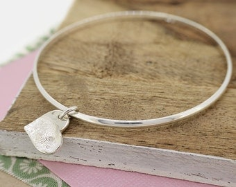 Silver Fingerprint Heart Charm Bangle | Fingerprint Jewellery | Free UK Delivery | Hold upon Heart
