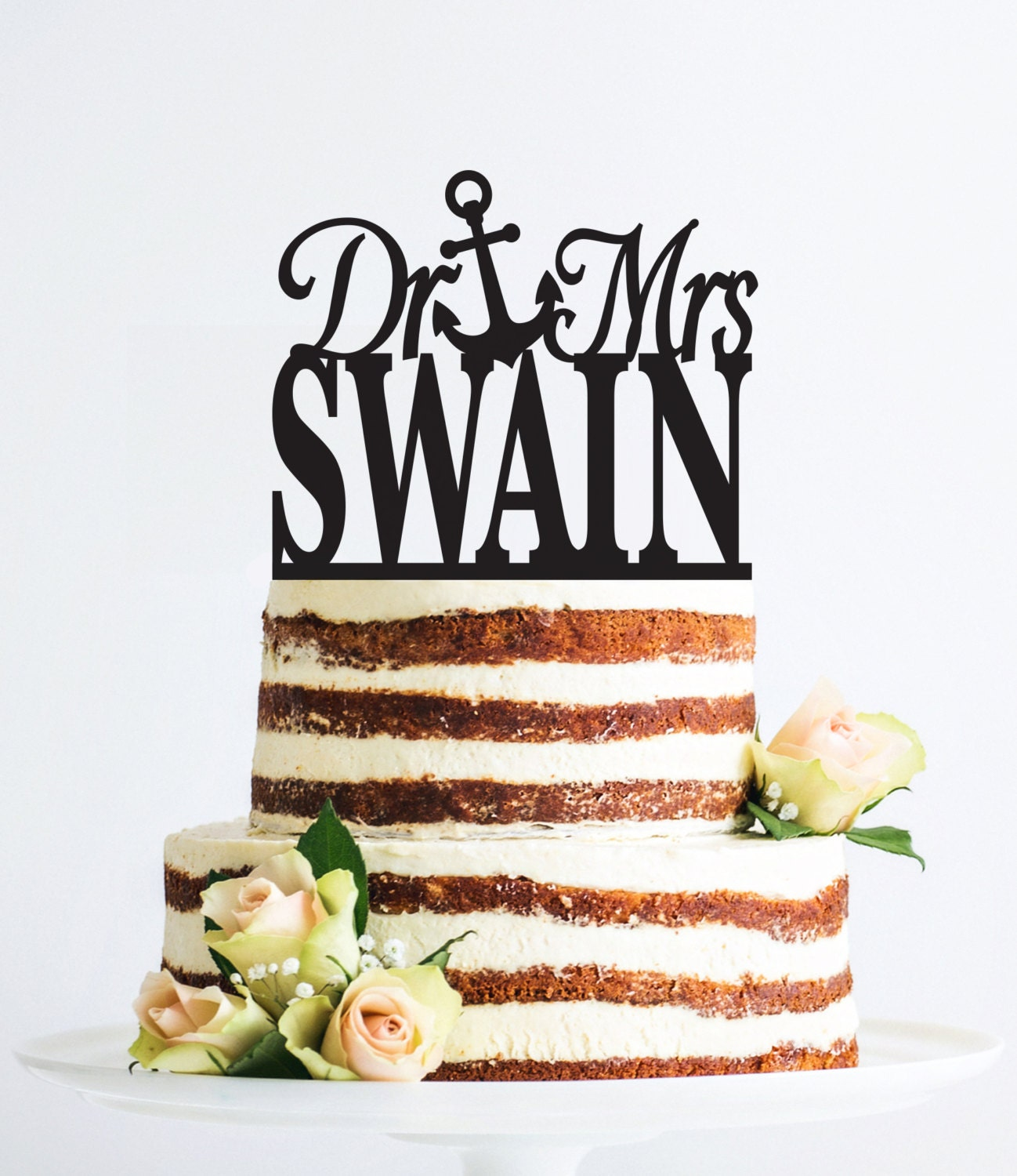 Elegant Dr and Mrs Last Name Wedding Cake Topper by