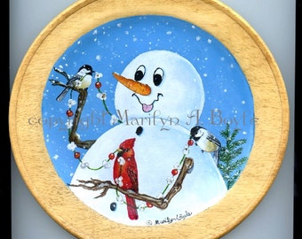 HAND PAINTED PLATE; free shipping, wood, 8 inches,original art,one of a kind,snowman,popcorn string,chickadees, cardinal, birds, snowing