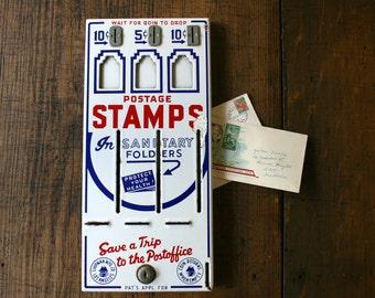Enamel Postage Stamp Dispenser Front Vending Machine Shipman Mfg Co Man Cave Interior Design Industrial Decor Mail
