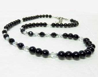 Long Black Necklace with Clear Czech Crystals, Black Beaded Necklace, Black Glass Necklace, 25 inch Necklace