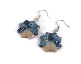 Turquoise Origami earrings made out of chiyogami japenese paper blue, turquoise and gold, Okibo