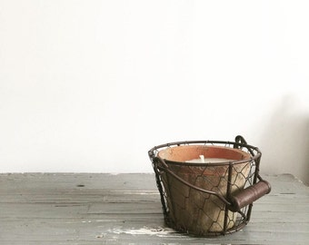 Rustic potted candle