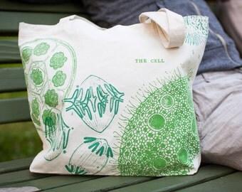 Cell Biology Tote Bag | Recycled Canvas Shoulder Bag Mitosis Vintage Science Illustration Smart Biology Teacher Gift Back to School Student