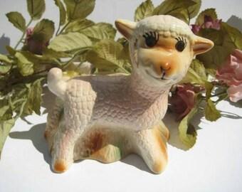 Whimsical Vintage Ceramic Lamb Baby Planter