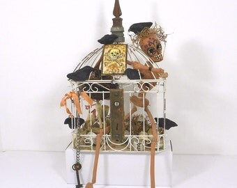 Day of the Dead Bone Yard Birdcage Skeleton Folk Art, Assemblage, Halloween
