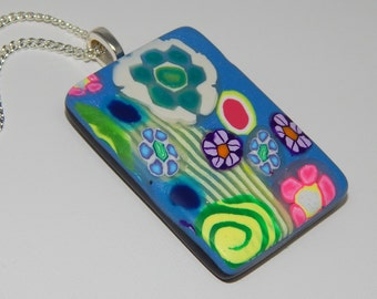 Polymer Clay Pendant in Floral Design. Polymer Clay Necklace. Sculpey. Fimo.