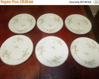 Save 10% Today Set of Six Vintage Crooksville USA B-V Seven Inch Salad Plates Spring Blossom Pattern