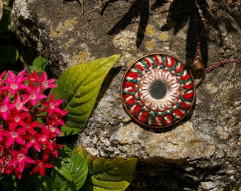 MANDALA Pendant Necklace Jewelry - Woven YARN Embroiderey with Indian Shisha Mirrors - Copper Red & Green