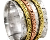 Three Tone Band Ring Solid 925 Silver Brass Copper Spinner Jewelry IR35085