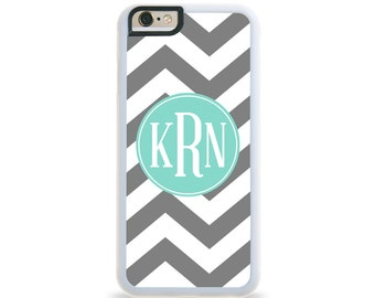 Grey Chevron  Turquoise Monogram Personalized iPhone Case, Monogram Personalized Galaxy Case