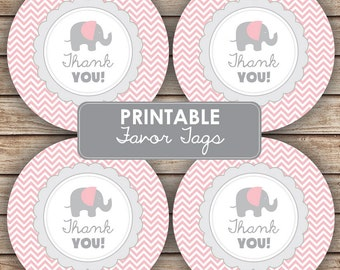 Thank You Pink Elephant Baby Shower Party Decorations - Baby Shower Favor Tags Cupcake Toppers  - Party Labels - INSTANT DOWNLOAD
