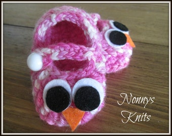 New born Pink Owl Shoes