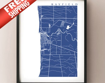 Bayfield Map - Bluewater, Ontario Lake Huron Print