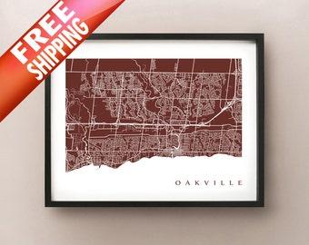 Oakville Map Print - Ontario Art Poster