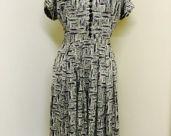 40s 1940s Vintage Day Dress