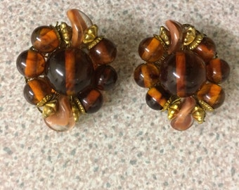 60s Vintage Brown Clip On Earrings