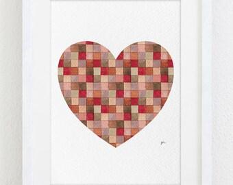 Red Geometric Heart Watercolor Print - 5x7 Archival Print - Heart Painting - Love Art Print - Wall Decor Art Home Decor Housewares