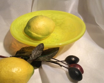 Small Hand Blown Glass Bowl in Yellow.  Shallow Art Glass Trinket Bowl.