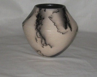 Raku Pottery Southwest Form Horsehair Decoration