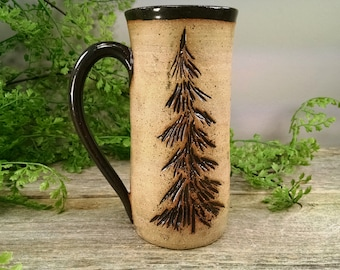 16 oz Stormy Gray Evergreen Pine Tree Mug - Wheel Thrown and Hand Sculpted Coffee Cup