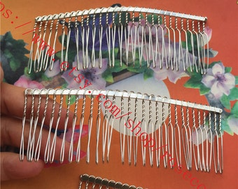 Wholesale 50pcs 115x35mm (30 teeth) Silver  hair teeth comb/head teeth comb metal findings