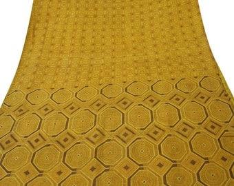 Vintage Pure Silk Fabric Yellow Sari Sarong Drape Floral Printed Fabric Dress Recycled Sari Women Wrap Indian Sari 5Yard PS40929