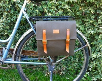Bicycle pannier/Green military canvas pannier/bicycle messenger/bike bag/bike accessories