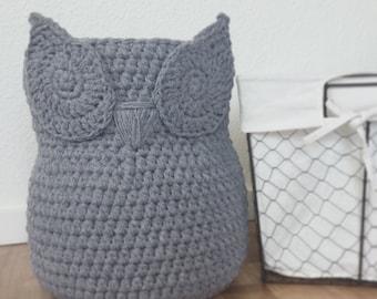 Large Chic Handmade Crochet Owl Basket, Home Decor Owl Basket, Crochet Owl Basket, Owl Nursery decor, Crochet storage bin, Storage basket