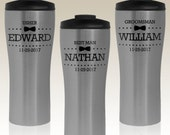 Groomsman Personalized Travel Mugs Engraved with Your Choice of Our Groomsmen Design Options or Any Font From Our Selection (Each)