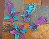 Black, Purple, and Teal Peacock Flower Set Of 4 Paper Layered Lily Flower Wedding Decoration Favor Card Making Invitation