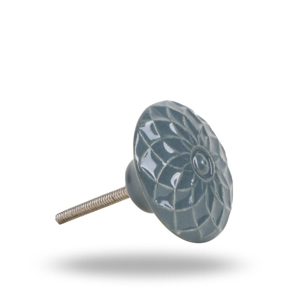Ceramic Furniture Knob Dark Grey With Flower Design