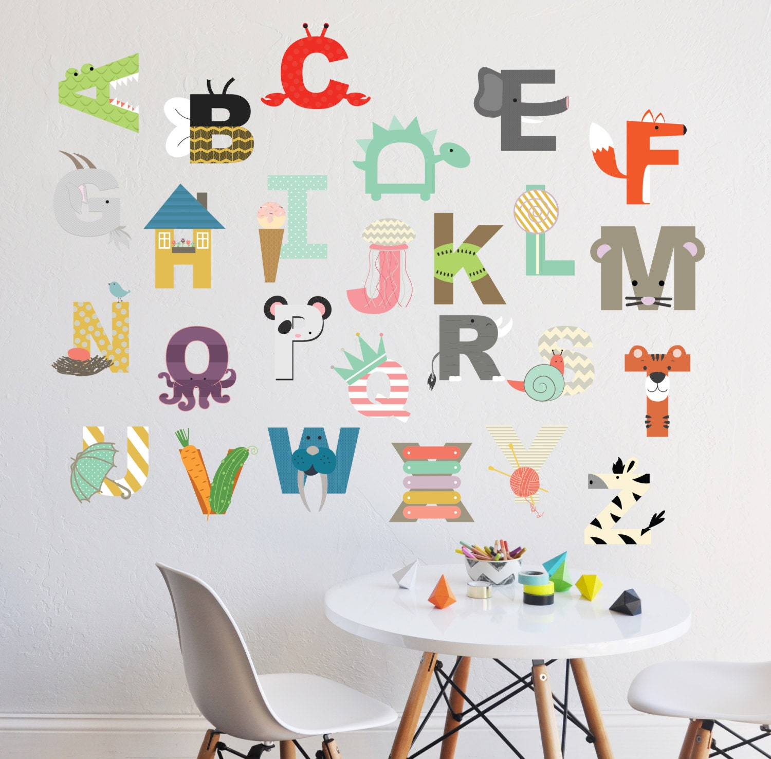 Alphabet wall decal interactive alphabet wall sticker zoom amipublicfo Gallery
