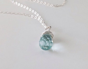 Aquamarine pendant necklace - March birthstone