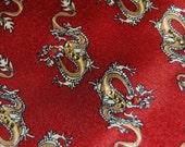 Shiny maroon golden dragon rhinestones necktie