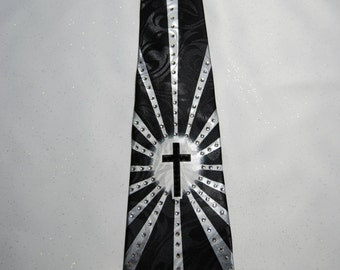 Shining cross rhinestone necktie
