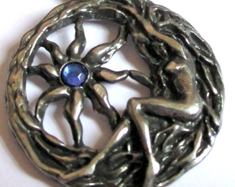 Brigits Sun Charm Goddess Fire and Sun Talisman Amulet 100% Pewter & Black Cord and Blue Crystal