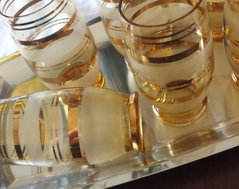 Set of 6 Original Vintage Rerto Italian Amber and Gold ringed drinking glasses tumblers