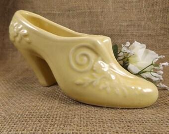 Vintage Ceramic Shoe Planter Yellow Ceramic Planter Pot Porcelain Shoe Planter USA