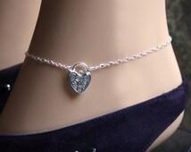 Discrete PERMANENTLY LOCKING Slave Ankle Infinity Chain Bracelet. BDSM Anklet. Sterling silver. Choose plain or fancy engraved padlock.